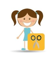 Happy girl student school scissors icon vector