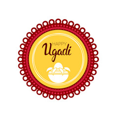 Happy ugadi gudi padwa hindu new year greeting vector