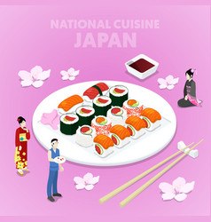 isometric national cuisine japan with sushi vector image vector image