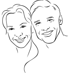 man and woman - young couple - black outline vector image vector image