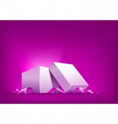 open box with pink ribbon vector image vector image