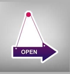 Open sign purple gradient vector
