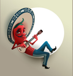 Red mexican hot chili pepper in sombrero playing vector