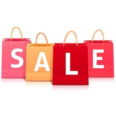 Sale shopping bag set vector image