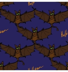 Seamless pattern with colored cartoon bat vector image