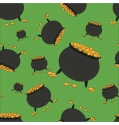Seamless pattern with pot full of gold vector
