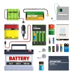 Set of batteries primary cells power bank vector