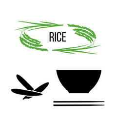 Set of rice plants and bowl with long-grained rice vector