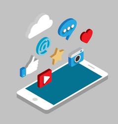 Social media flat 3d isometric concept vector image