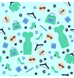 Spring shopping seamless pattern accessories vector
