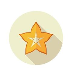 Starfruit carambola carom icon tropical fruit vector