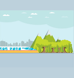 Train on railway with forest and mountains vector