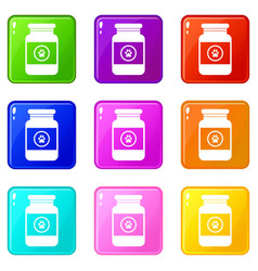 Treatment solution for animals icons 9 set vector
