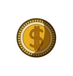 Yellow aged silhouette of money coin icon vector