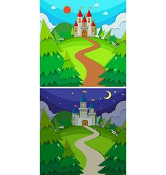 Scenes with castles in the forest day and night vector