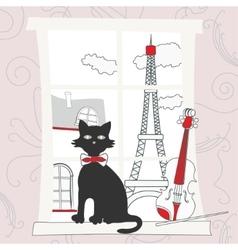 Cat on the window in Paris vector image