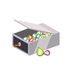 Safe strongbox gemstones vector