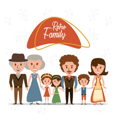 Retro family grandparents with parents and vector