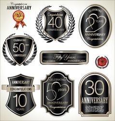 Anniversary black label set vector