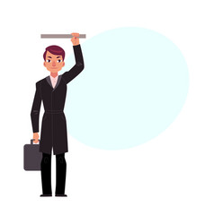 businessman holding briefcase in subway standing vector image