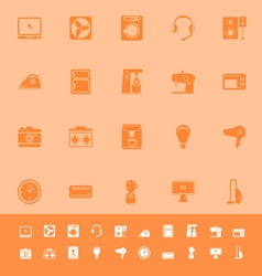 Electrical machine color icons on orange vector