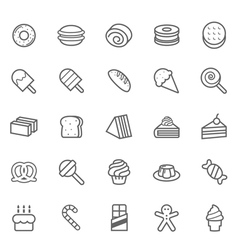 Set of outline stroke dessert and sweet icon vector