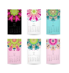 Calendar grid 2015 for your design floral vector