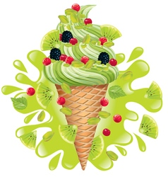 Ice cream pistachio with kiwi vector