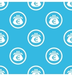 Euro purse sign blue pattern vector image