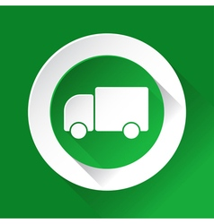 Green circle shiny icon - lorry car vector
