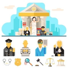 Courthouse law icons set justice symbol concept on vector