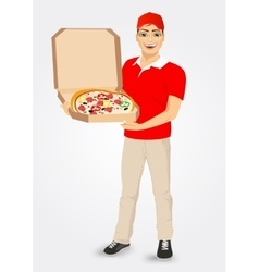 Pizza delivery courier in red uniform vector