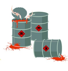Barrels of red acid hazardous chemical waste vector