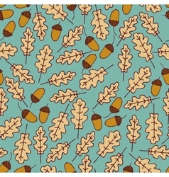 Autumn seamless pattern acorns and oak leaves vector