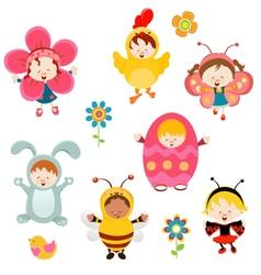 Spring Kids vector image