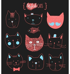 Set of cute doodle cats sketch cat cat handmade vector