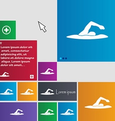 Swimmer icon sign buttons modern interface website vector