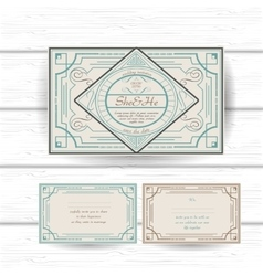 Set of vintage ornament greeting gift card or vector