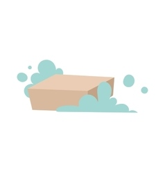 Piece of brown laundry soap with foam flat vector