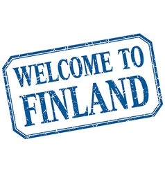 Finland - welcome blue vintage isolated label vector