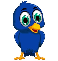 Cute blue bird cartoon posing vector