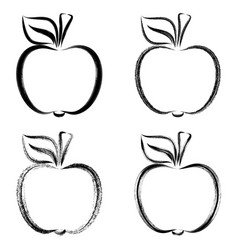 black brush strokes apples vector image vector image