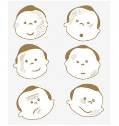cartoon boy face vector image vector image