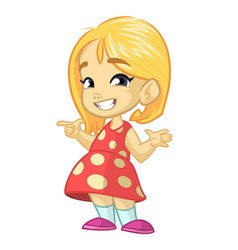 cartoon cute little girl vector image