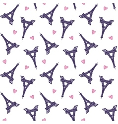 Eiffel Towers romantic seamless pattern vector image