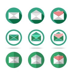 Flat letters icons set - closed opened with vector image