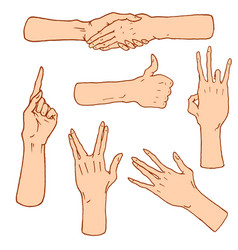 Gestures arms stop palm thumbs up finger vector
