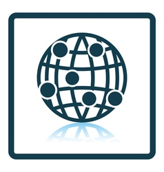Globe connection point icon vector image