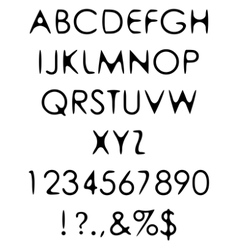 Hand crafted retro font alphabet scratch gothic vector