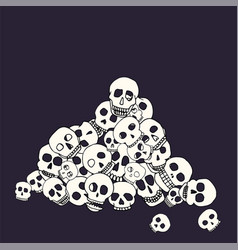 hand drawn skull pile vector image vector image